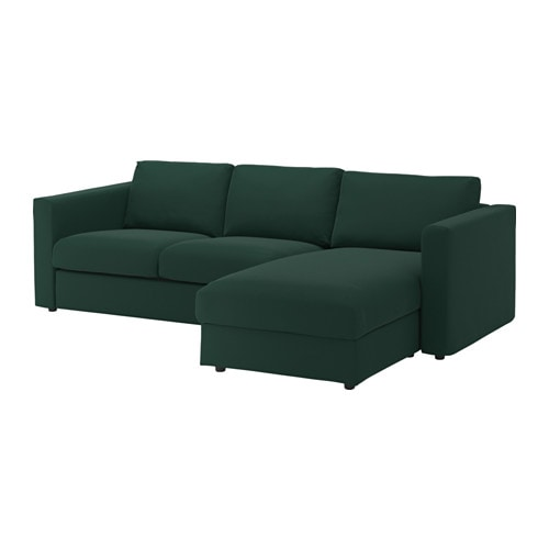 Vimle 3 zitsbank met chaise longue gunnared donkergroen for 2 zitsbank met chaise longue