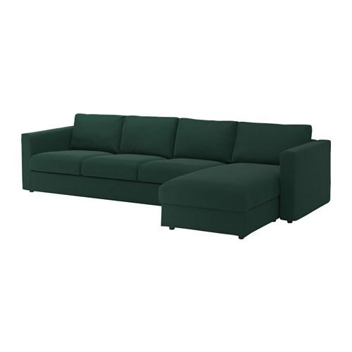 Vimle 4 zitsbank met chaise longue gunnared donkergroen for 1 zitsbank met chaise longue
