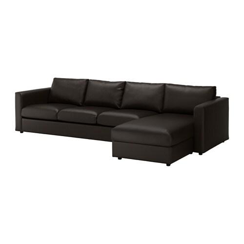 Vimle 4 zitsbank met chaise longue farsta zwart ikea for Banken met chaise longue