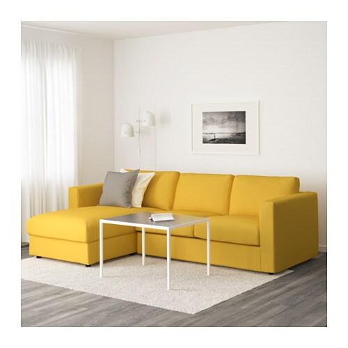 Vimle 3 zitsbank met chaise longue orrsta goudgeel ikea for Canape jaune ikea