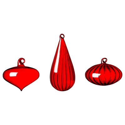 VINTER 2020 Decoratie, bal, set van 3, diverse vormen/glas rood