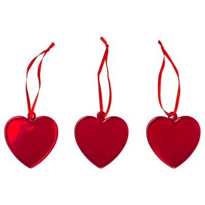 VINTER 2020 Decoratie, hangend, hartvorm rood, 6.5 cm