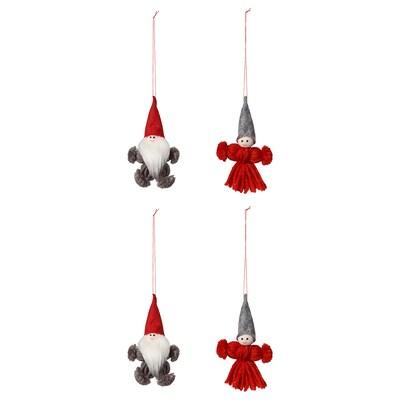 VINTER 2020 Decoratie hangend, set van 4, kerstman rood/grijs, 10.5 cm