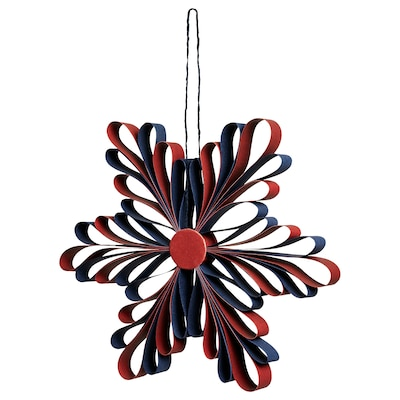 VINTER 2020 Decoratie, hangend, sneeuwvlok rood/blauw