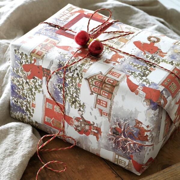 VINTER 2020 Rol cadeaupapier, kerstmanpatroon blauw, 3x0.7 m