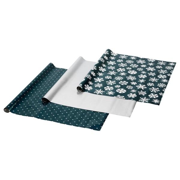 VINTER 2020 Rol cadeaupapier, sneeuwvlokpatroon/sterpatroon blauw/zilverkleur, 3x0.7 m/2.10 m²x3 st.