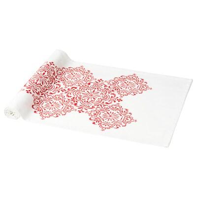 VINTER 2020 Tafelloper, medaillonpatroon wit/rood, 35x130 cm