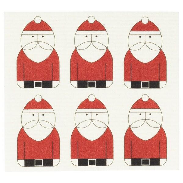 VINTER 2020 Vaatdoek, kerstmanpatroon wit/rood