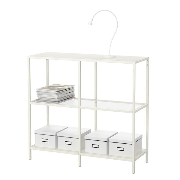 VITTSJÖ Stellingkast, wit/glas, 100x93 cm