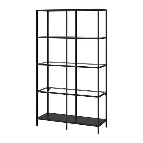 Stellingkast Zwart Metaal.Vittsjo Stellingkast Zwartbruin Glas Ikea