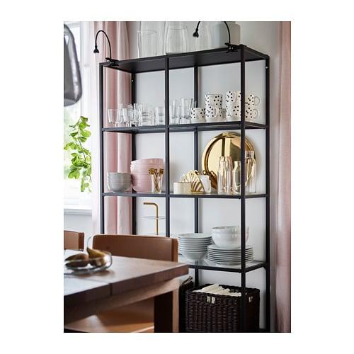 Metalen Stellingkast Keuken.Vittsjo Stellingkast Zwartbruin Glas Ikea