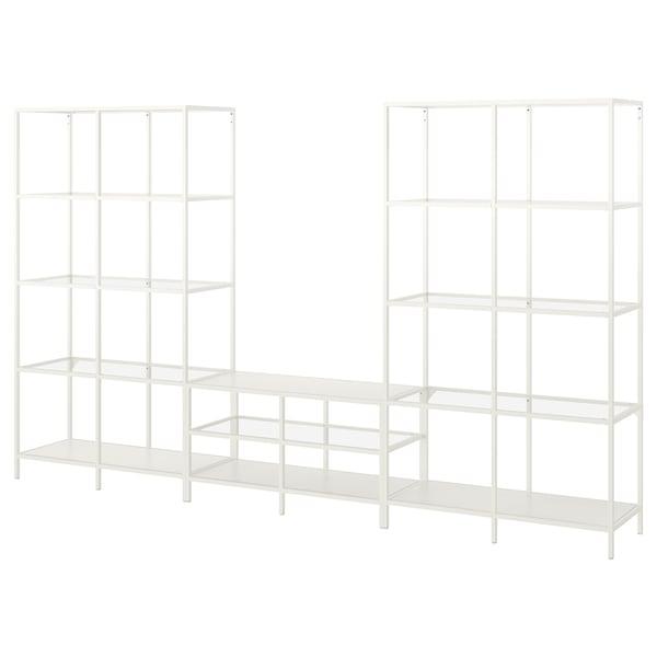 VITTSJÖ Tv-meubel, combi, wit/glas, 300x36x175 cm