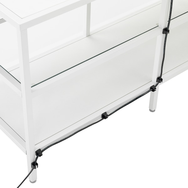 VITTSJÖ Tv-meubel, wit/glas, 100x36x53 cm