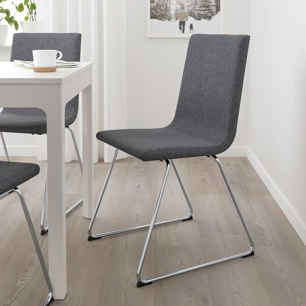 VOLFGANG Eetkamerstoel, verchroomd, Gunnared middengrijs IKEA