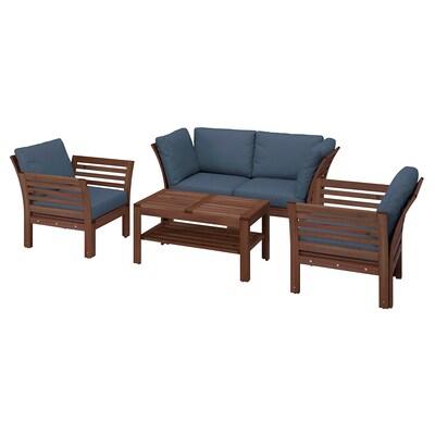 ÄPPLARÖ 4-seters møbelgruppe, utendørs, brunbeiset/Frösön/Duvholmen blå
