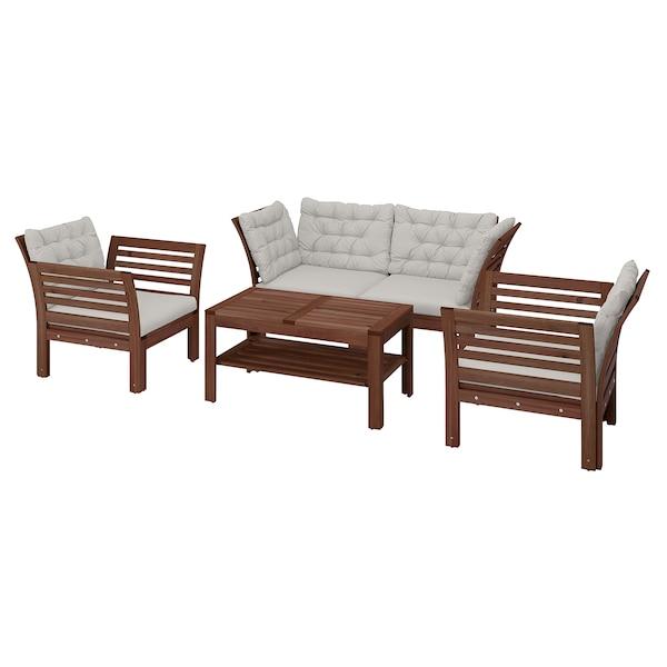 ÄPPLARÖ 4-seters møbelgruppe, utendørs, brunbeiset/Kuddarna grå