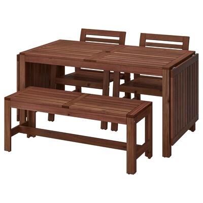 ÄPPLARÖ Bord+2 stoler m armlener+benk, utendørs brunbeiset