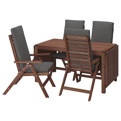 ÄPPLARÖ Bord + 4 regulerbare stoler, utend, brunbeiset/Frösön/Duvholmen mørk grå