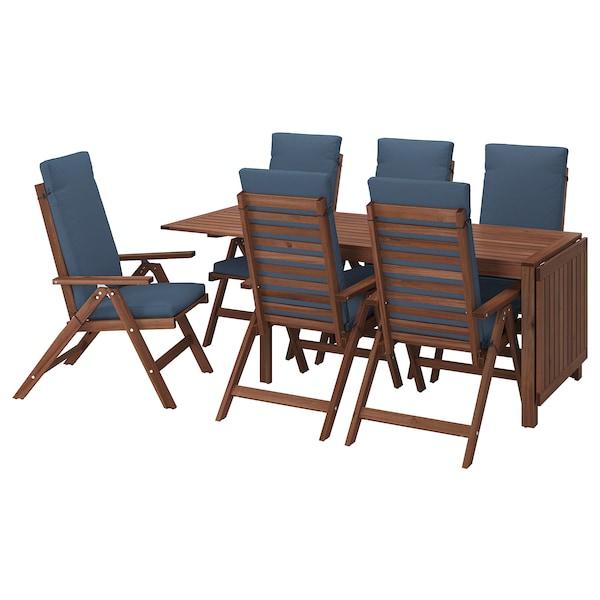 ÄPPLARÖ Bord + 6 regulerbare stoler, utend, brunbeiset/Frösön/Duvholmen blå