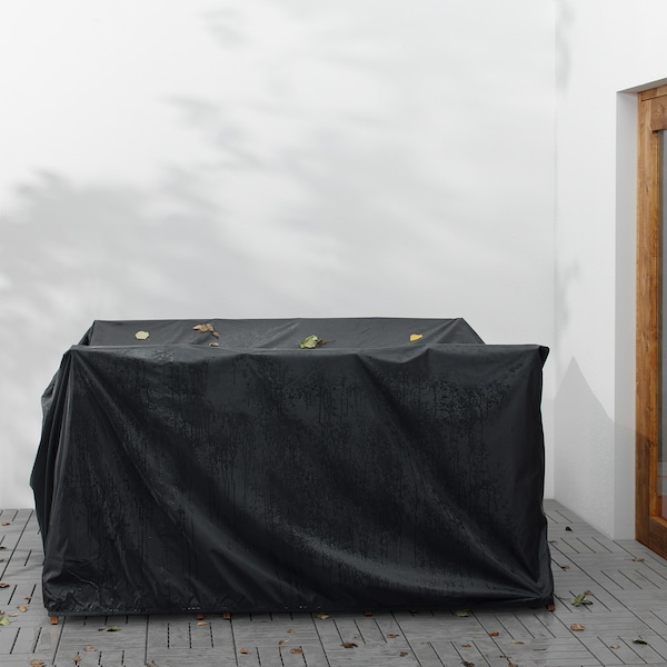 ÄPPLARÖ Bord + 6 regulerbare stoler, utend, brunbeiset/Frösön/Duvholmen mørk grå