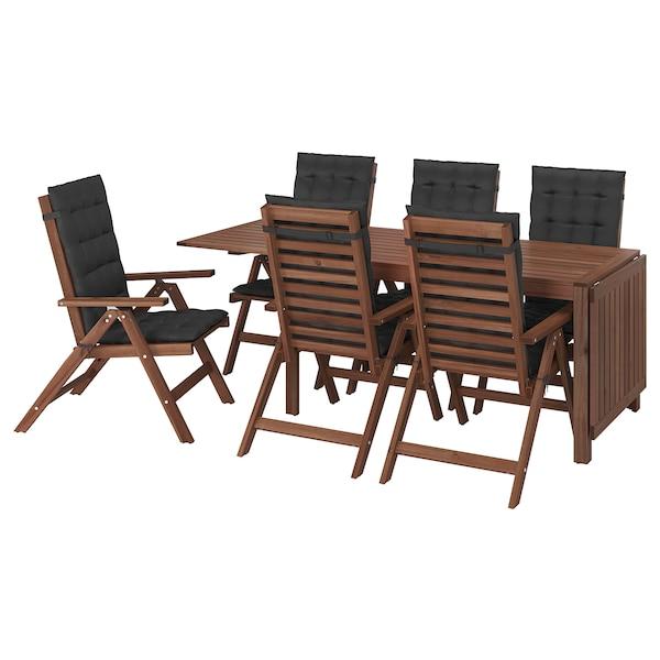 ÄPPLARÖ Bord + 6 regulerbare stoler, utend, brunbeiset/Hållö svart