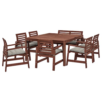 ÄPPLARÖ Bord + 6 stoler + benk, utend, brunbeiset/Kuddarna grå