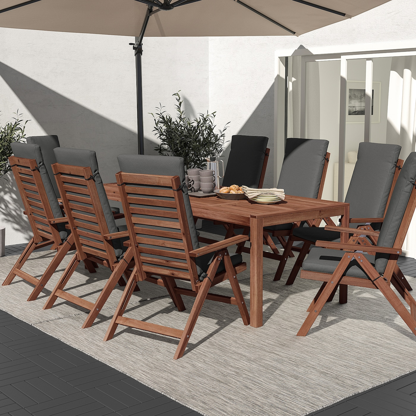 ÄPPLARÖ Bord+8 regulerbare stoler, utendørs, brunbeiset/Frösön/Duvholmen mørk grå