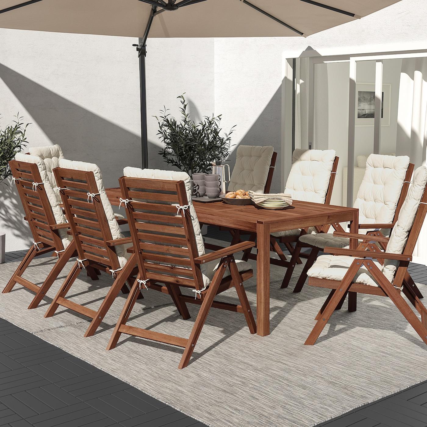 ÄPPLARÖ Bord+8 regulerbare stoler, utendørs, brunbeiset/Kuddarna beige