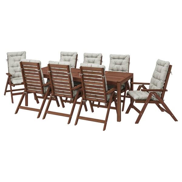 ÄPPLARÖ Bord+8 regulerbare stoler, utendørs, brunbeiset/Kuddarna grå