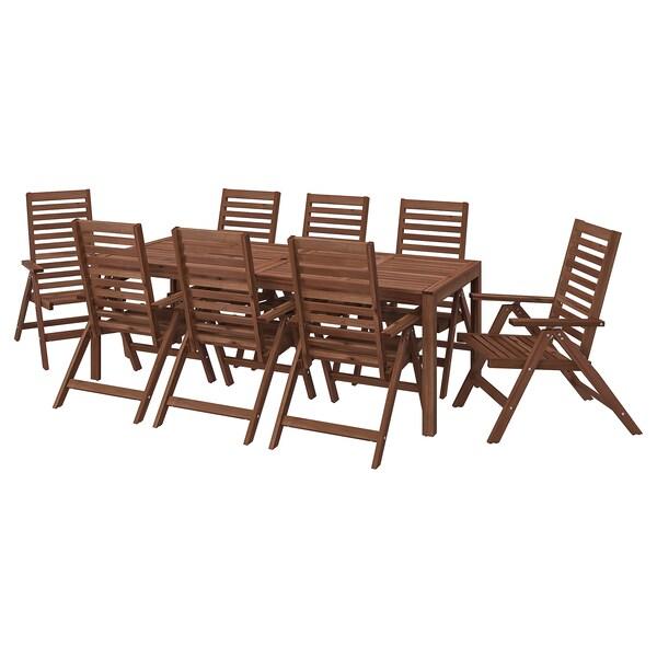 ÄPPLARÖ Bord+8 regulerbare stoler, utendørs, brunbeiset
