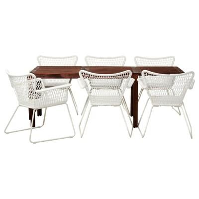 ÄPPLARÖ / HÖGSTEN Bord + 6 stoler m armlener, utend, brunbeiset/hvit