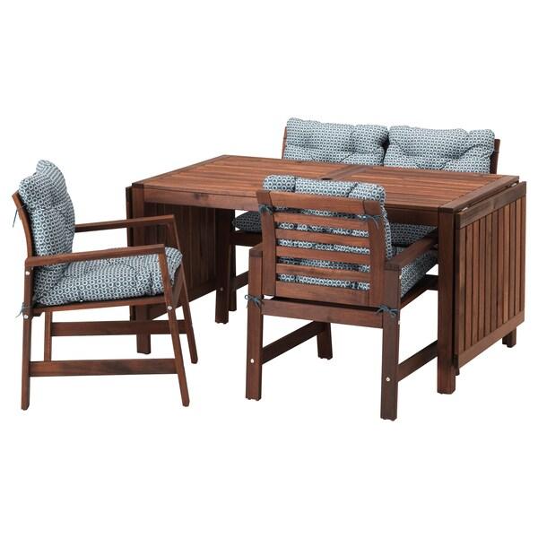 ÄPPLARÖ Bord + 2 stoler + benk, utendørs brunbeiset, Ytterön blå
