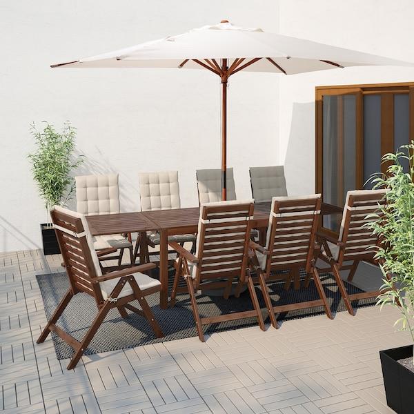 ÄPPLARÖ bord+8 regulerbare stoler, utendørs brunbeiset