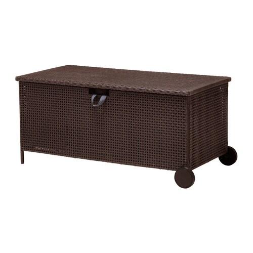 AMMERÖ Benk med oppbevaring, utendørs , mørk brun Bredde: 124 cm Dybde: 62 cm Høyde: 57 cm