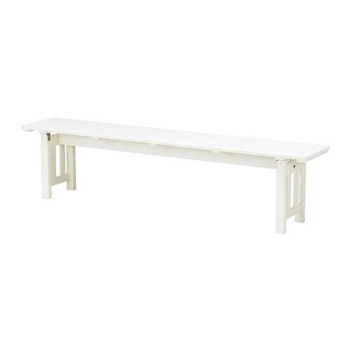 ÄNGSÖ Benk, utendørs , hvitbeiset hvit Dybde: 35 cm / 35 cm Sete bredde: 184 cm Høyde: 43 cm / 43 cm Bredde: 184 cm