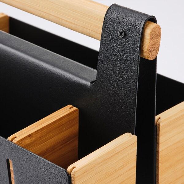 ANILINARE Oppbevaring til arbeidsbord, bambus/svart, 18x13 cm