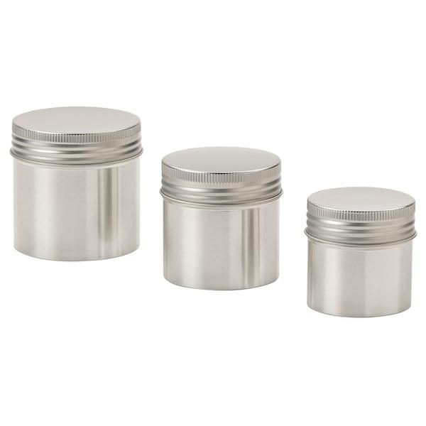 ANILINARE Oppbevaringsboks med lokk, 3 stk., metall