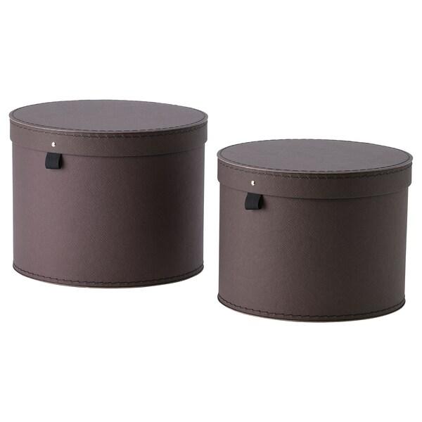 ANILINARE Oppbevaringseske med lokk, 2 stk., mørk brun