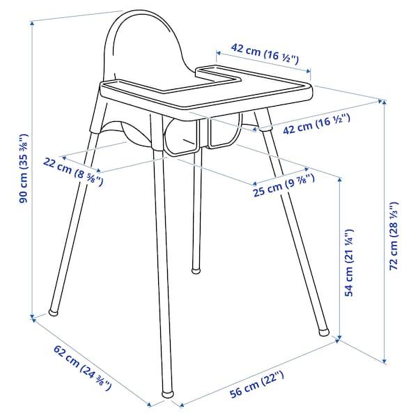 ANTILOP Høy barnestol med brett, hvit/sølvfarget