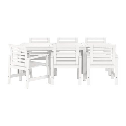 ÄPPLARÖ Bord + 6 stoler m armlener, utend