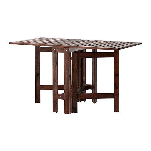 ÄPPLARÖ Slagbord, utendørs , brunbeiset brun Lengde: 77 cm Min. lengde: 20 cm Maks lengde: 133 cm Høyde: 71 cm / 71 cm