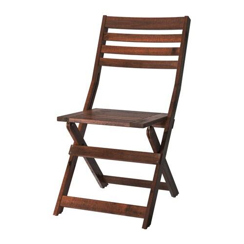 ÄPPLARÖ Stol, utendørs , brun sammenleggbar brunbeiset Sete bredde: 40 cm Setehøyde: 44 cm Høyde: 87 cm / 87 cm Bredde: 45 cm / 45 cm