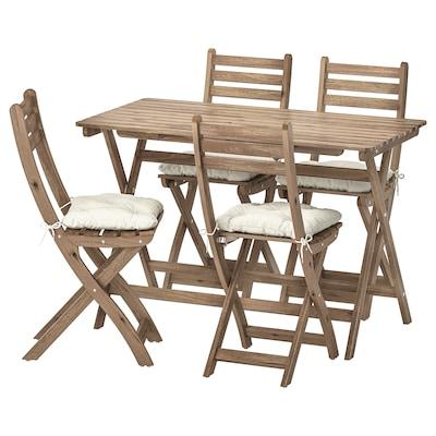 ASKHOLMEN bord+4klappstoler, utendørs gråbrunbeiset/Kuddarna beige