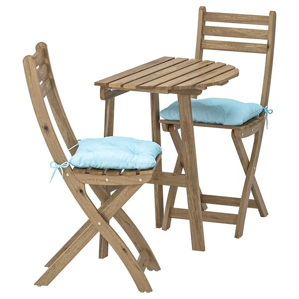 ASKHOLMEN Bord til vegg og 2 stoler, utendørs gråbrunbeiset, Kuddarna blå lys blå