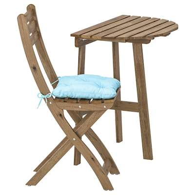 ASKHOLMEN bord til vegg 1 klappstol, utendørs gråbrunbeiset/Kuddarna lys blå