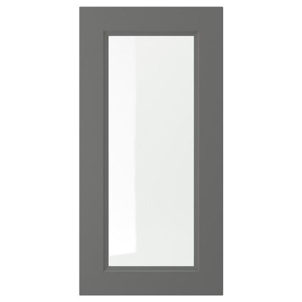 AXSTAD Vitrinedør, mørk grå, 40x80 cm