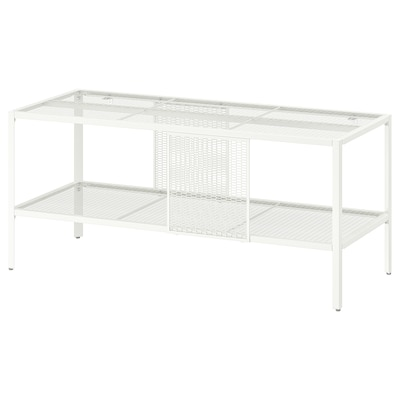BAGGEBO TV-benk, metall/hvit, 90x35x40 cm