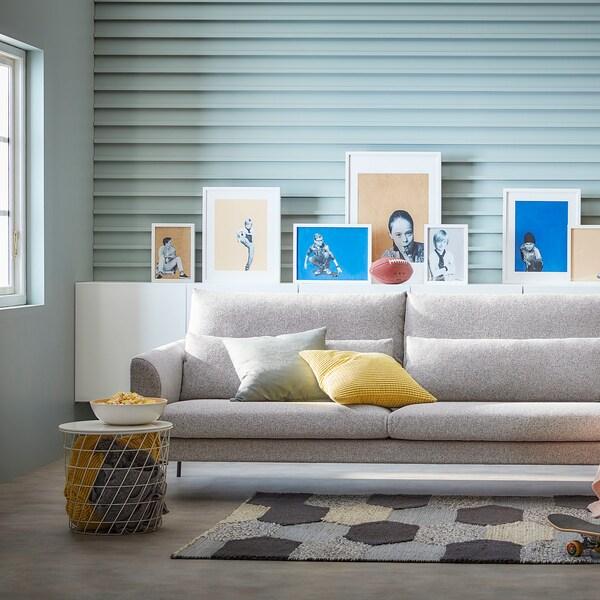 BARKTORP 3-seters sofa, grå/rundt svart