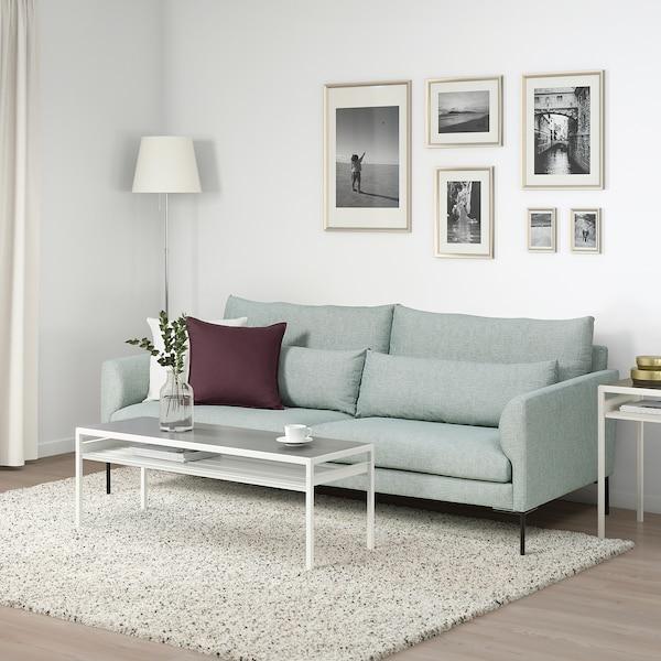 BARKTORP 3-seters sofa, lys turkis/rundt svart