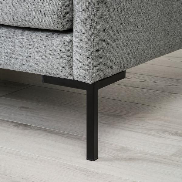BARKTORP 4-seters sofa, med sjeselong grå/firkant svart